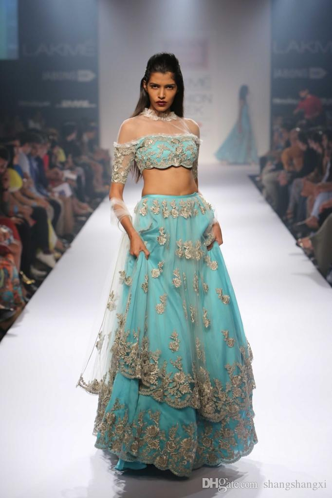 2016 Two Pieces Indian Evening Dresses Unique A Line High Neck Half ...