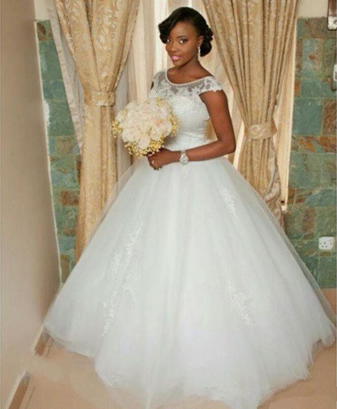 Бальное платье принцессы свадебные платья 2019 простой стиль шапки рукава жемчужина шеи кружева тюль длиной дола свадебные платья на заказ W987