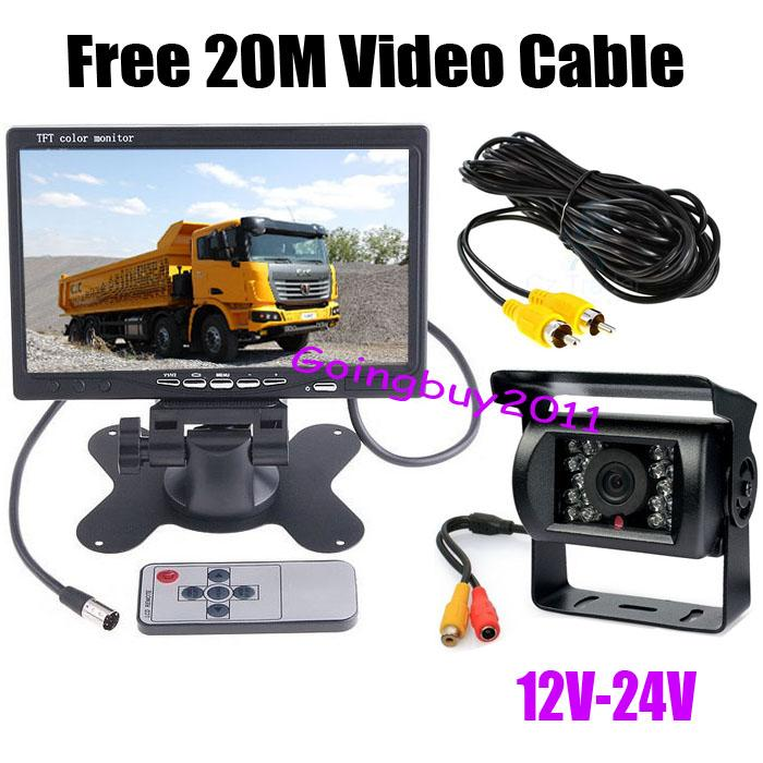 "18LED Car Rear View Reverse Camera 7/"" LCD Monitor Kit For 20M Bus Truck 12-24V"
