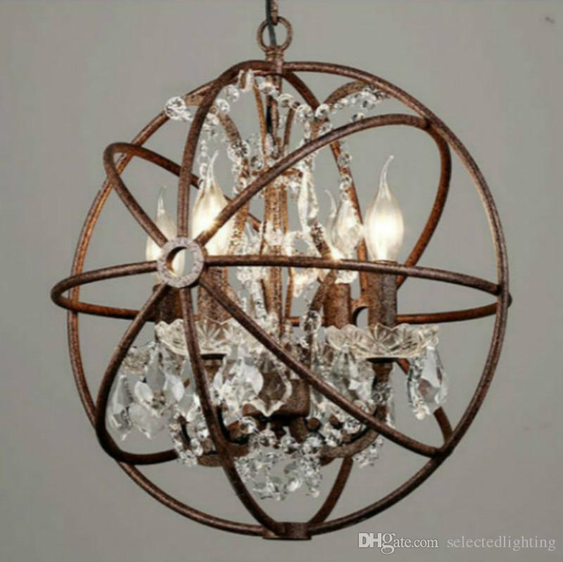 RH Industrial Lighting Restoration Hardware Vintage Crystal Chandelier  Pendant Lamp FOUCAULT IRON ORB CHANDELIER RUSTIC IRON Gyro Loft Light ...