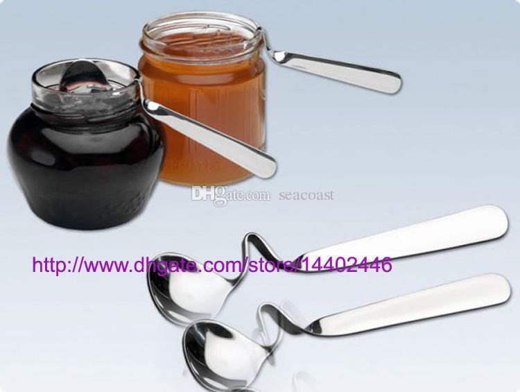 100pcs NOUVEAU thé café boisson au miel adorable en acier inoxydable courbe cuillère torsadée cuillère en U manipulé V poignée poignée cuillères à confiture