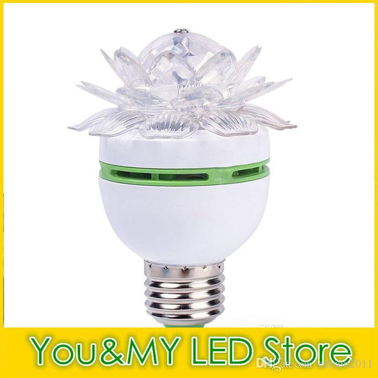 Coloré Fleur De Lotus 3 W E27 LED RGB Auto Rotation Ampoule Stage de lumière de Noël Xmas Party Lampe Bar Lumières Haute Qualité Bateau Libre DHL