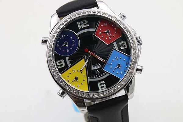 Мода спорт пять часовых поясов Diamond Black Watch Watches Mens Bucklet кварцевые движения кожаные часы