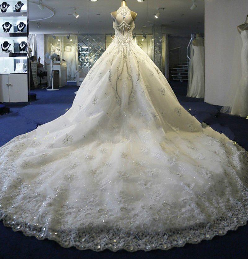De luxe bijou col haut sans manches robes de mariée robe de bal avec des perles et des cristaux tulle chapelle train Sheer dos robes robes de mariée
