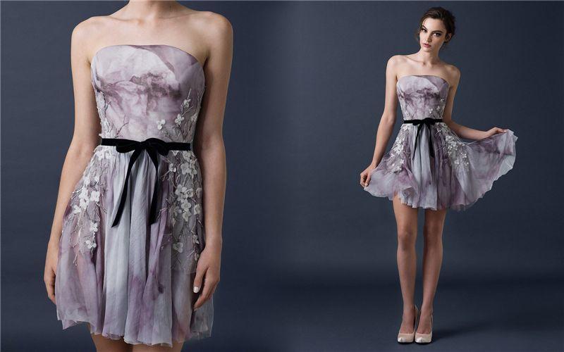 Paolo Sebastian 2018 A Line Prom Dresses Backless Printed Sleeveless Short Party Gowns Velvet Sash Mini Formal Homecoming Dress