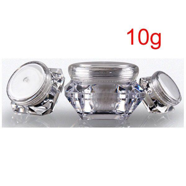 10g Mini contenedores de tarro de crema de muestra, frascos de tarro cosméticos vacíos, 1/3 oz forma de diamante tarro de crema de alta calidad para cosméticos