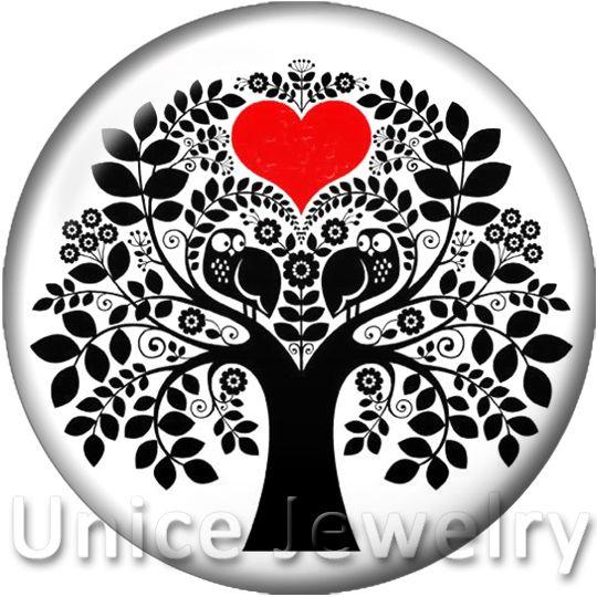 AD1301491 12/18 / 20mm Bilezik için Charms On Charms Kolye Sıcak Satış DIY Bulgular Cam Yapış Düğmeler Mutlu Ağaç Aşk Kalp Tasarım noosa