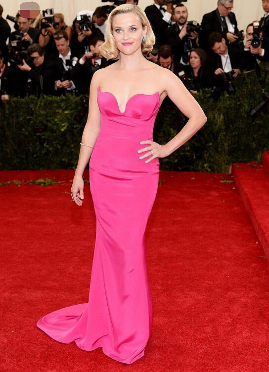 2015 Met Gala Reese Witherspoon In Sweetheart Mermaid Red Evening ...
