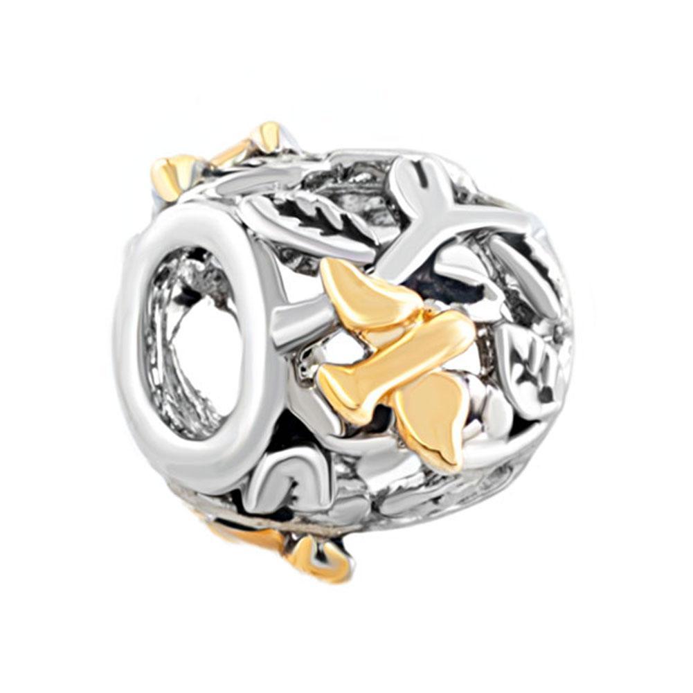 Filigrana d'amore con foglie d'ulivo Foglia d'amore con gocce d'acqua Lucky Charms in rodio e placcatura d'oro Bracciale Pandora di perline europeo
