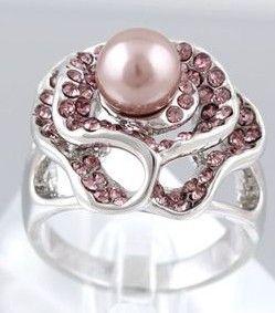 3 pcs holow subiu flwoer inlay pérola da senhora anel todo o tamanho (88)