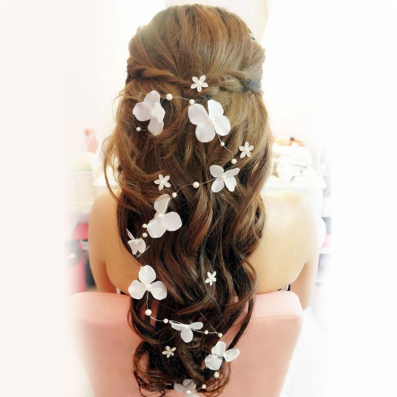 Stock 2015 Bridal Hair Accessories Handmade Butterfly Flower Headwear Bridal Headband Wedding Jewelry Pearl Bridal Hair Piece Free Shipping