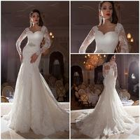 Vestidos De Novia Casamento Sheer Lace Long Sleeve Mermaid Wedding Dresses 2015 Open Back Bride Dresses Robe De Mariage
