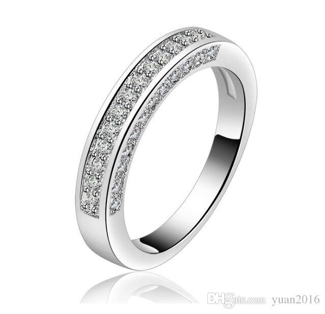 Anel de casamento 4mm Banhado A Platina Simulado Diamante Eternidade anel Promise Anéis Para As Mulheres venda Quente