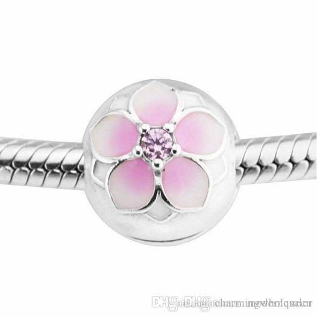 Magnolia Bloom Clip in beads with authentic S925 sterling silver beads fits pandora Jewelry bracelets free shipping aleCH621