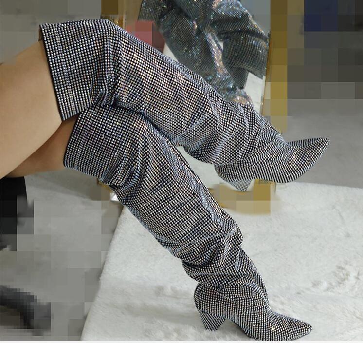 النساء الفخذ أحذية عالية كاملة كريستال أشار تو سبايك كعب فوق الركبة الشتاء الخريف حجر الراين أحذية منمق النساء فارس بوتاس الأحذية