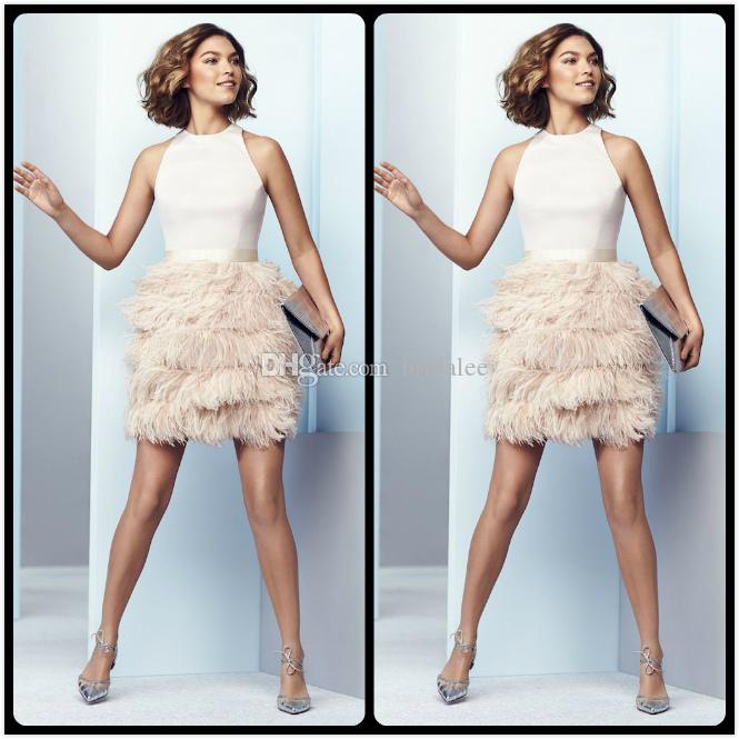 2018 Mini Pink Prom Dresses Wiht Feathers Skirt Sexy Halter Neck Backless Prom Dress for Juniors Short Cocktail Party Gowns