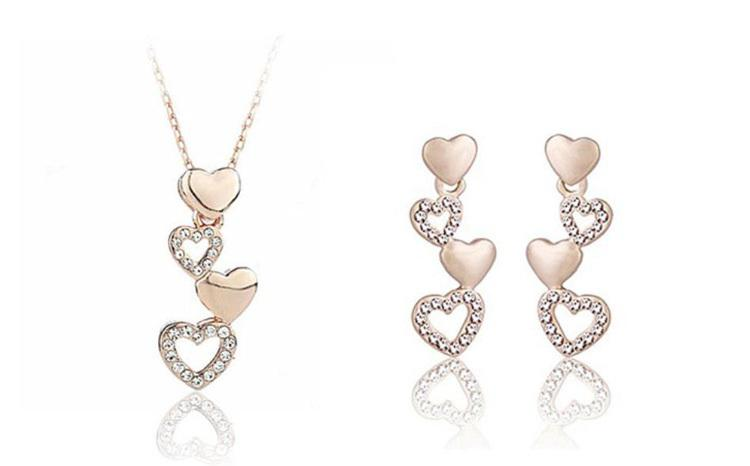 Heart necklace earrings jewelry set Fashion 18k gold plated alloy Jewelry Sets For Women Best Gift Min Order 12 sets 1153