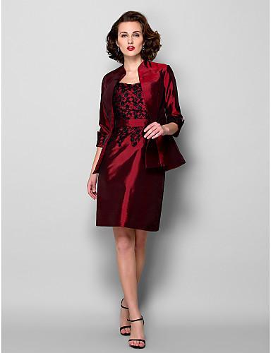New Arrival Free Shipping Elegant Sheath/Column Mother of the Bride Dress With Jacket Burgundy Knee-length 3/4 Length Sleeve Taffeta