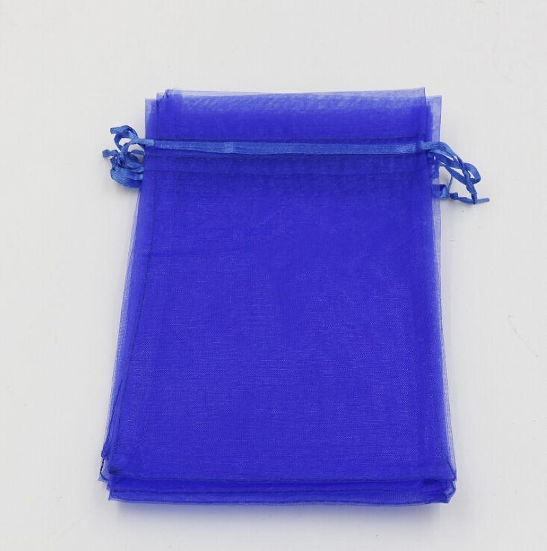 Hot ! Sapphire Blue Organza Gift Bags 20x30 cm / 4 inches With Drawstring (003585)