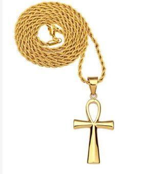 14 K Ouro Egípcio Ankh Chave Egipto Um pingente de chave Ele Americano da American hip hop macho feminino colar cruz