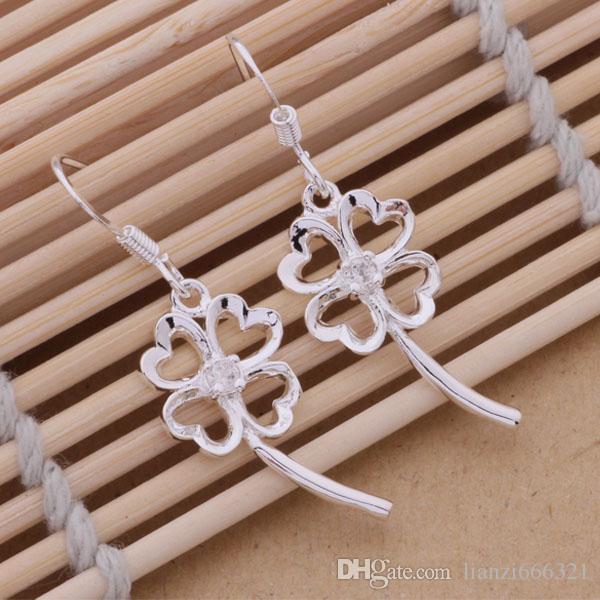 Mode (fabricant de bijoux) 40 pcs beaucoup Crystal Pierced Clover boucles d'oreilles 925 bijoux en argent sterling prix usine Fashion Shine Earrings