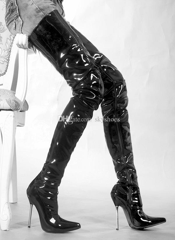 Wonderheel na sprzedaż Hot Extreme Heel Heel 12 CM Stiletto Heel Over Near Buty Patentowe Uda High Boots Sex Fetish Metal Heel Crotch Buty