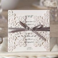 Wholesale Free Shipping New 100pcs Elegant Lace Butterfly Wedding Party invitations cards with briown bow and Wedding Suppliers