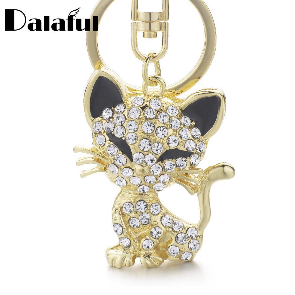 beijia Pretty Cute Cat Enamel Crystal HandBag Keyring Keychain For Car Purse Bag Buckle key holder K168