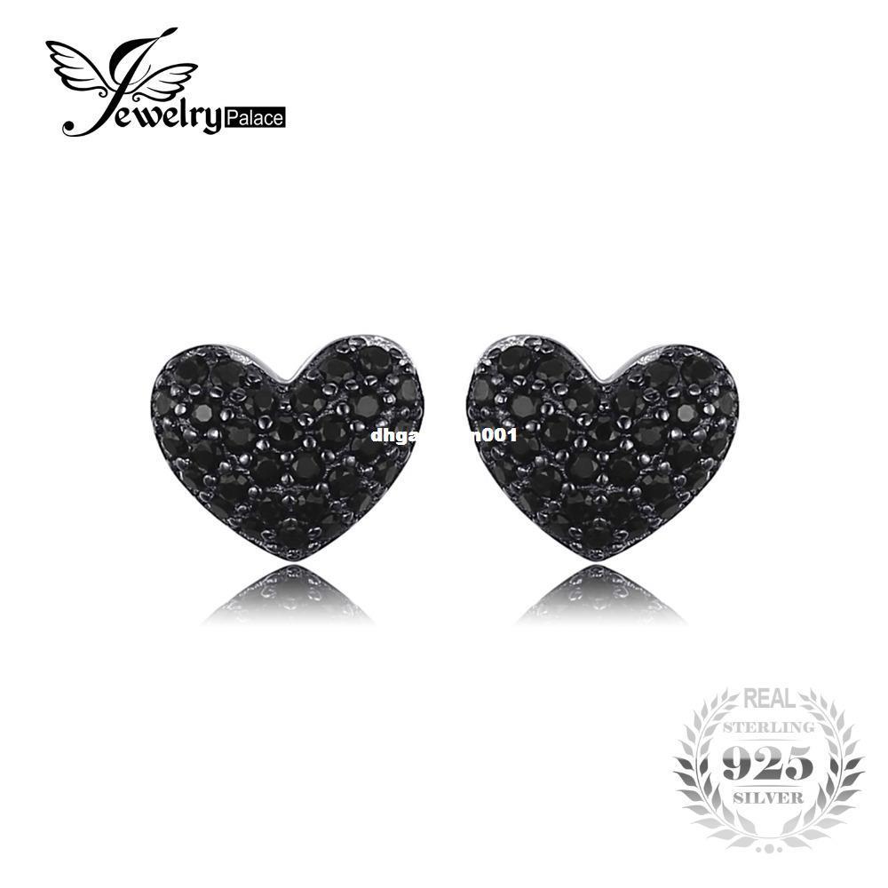 JewelryPalace мода 0.29 ct натуральный черный шпинель любовь Сердце серьги для женщин твердые стерлингового серебра 925 серьги ювелирные изделия