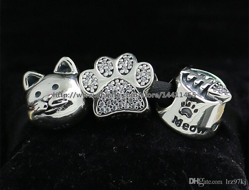Joyería de bricolaje 925 encantos de plata esterlina y cuentas de cristal de Murano se adapta a las pulseras del encanto de la joyería europea de Pandora-Conjunto de maullidos de gato