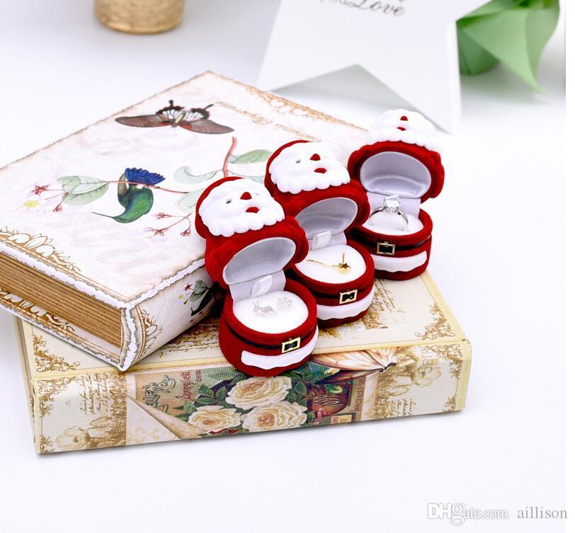 Emballage de Noël Boîtes de rangement Poubelles Boîte à bijoux Velvet Santa Design Cadeau de Noël Bague Boucle d'oreille Collier Collier Boîte à bijoux Boîte à bijoux