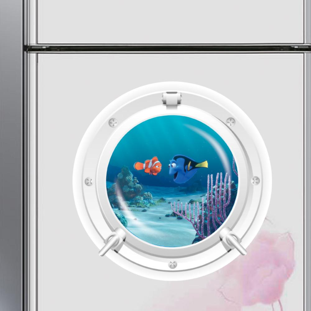 d ocean view fish window wall sticker nursery bathroom decals sea, Home decor