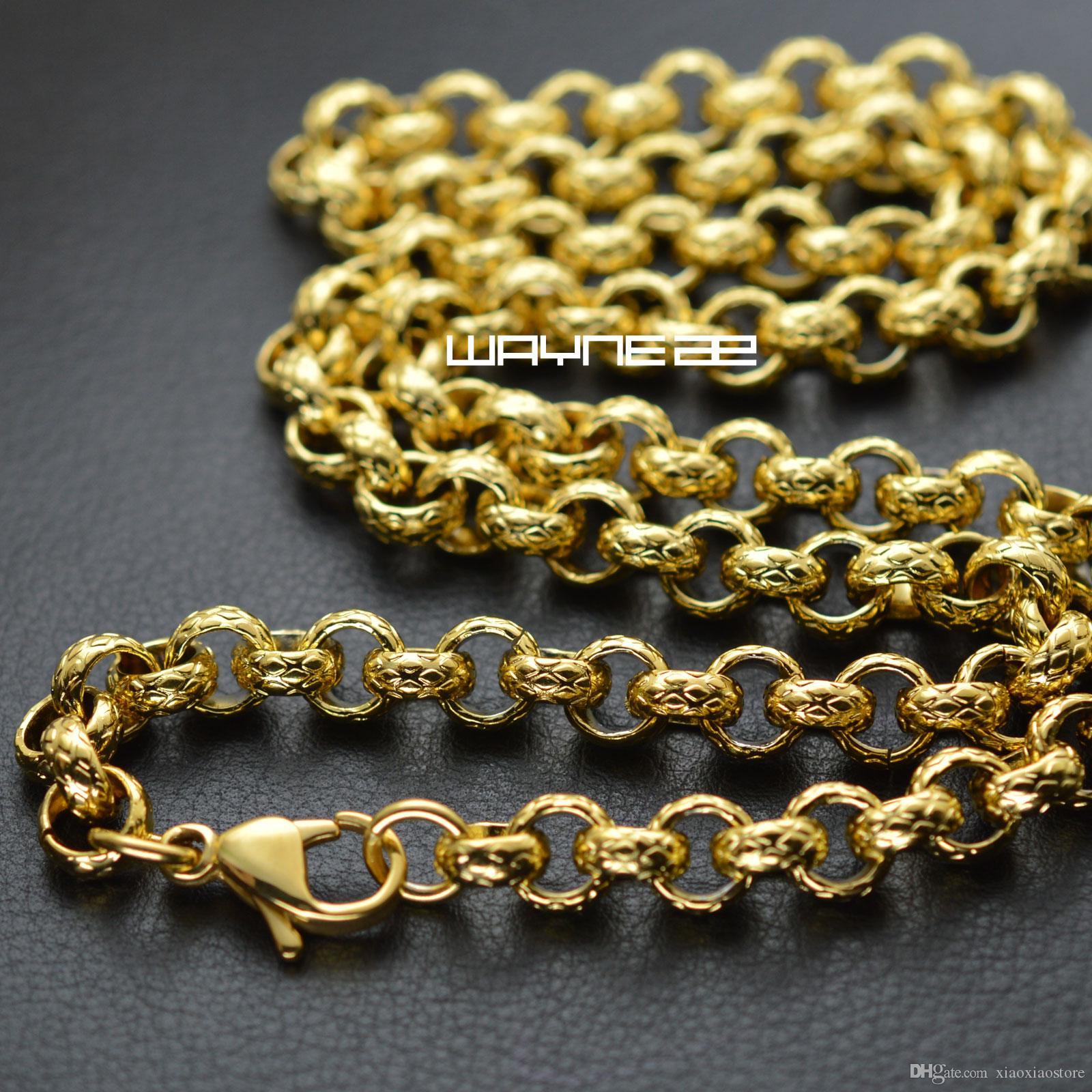 n308-Gold tone 50cm,60cm,70cm Length Men Women Solid ring link Necklace Chain