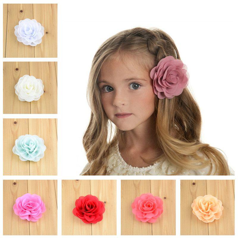 """50pcs / Lot 3 .15 """"쉬폰 패브릭 장미 꽃 부티크 Diy Blossom Hair Bows 클립없이 꽃 여자애 헤어 액세서리 Fh28"""