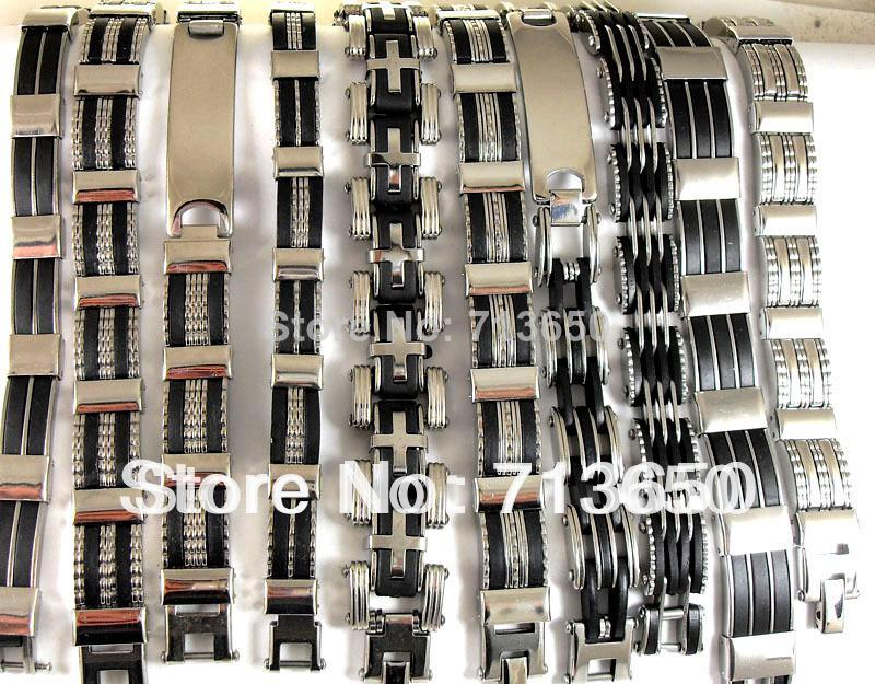 10X Design Mixed Quality Men's Fashion Stainless Steel Bracelets Wholesale Jewelry lots