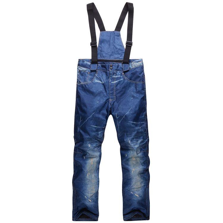 الجملة-رخيصة سنو الدينيم الرجال مريلة تزلج Trousers10K ماء يندبروف -30 الدافئة على الجليد السراويل الشتاء في الهواء الطلق الرياضة الحمالات جينز