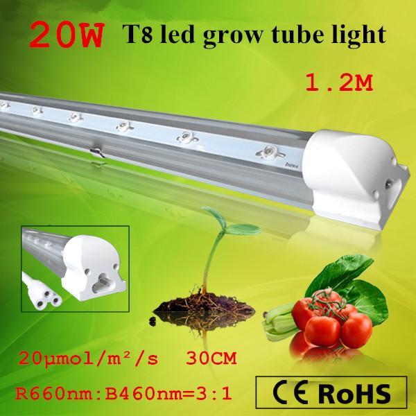 Gratis frakt Hydroponic / Greenhouse 20W T8 LED Grow Tube Lights Red 660nm Blue 460nm Bästa växttillväxt