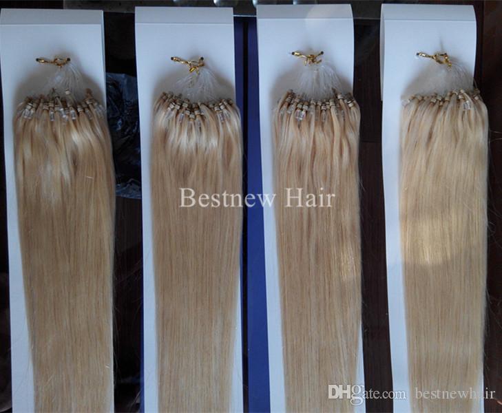 "Расширения Micro Ring первоклассный Loop Beads Remy человеческих волос 18 ""-26"" 1G / S 100S / Pack # 613 Bleach Blond Silk Straight"