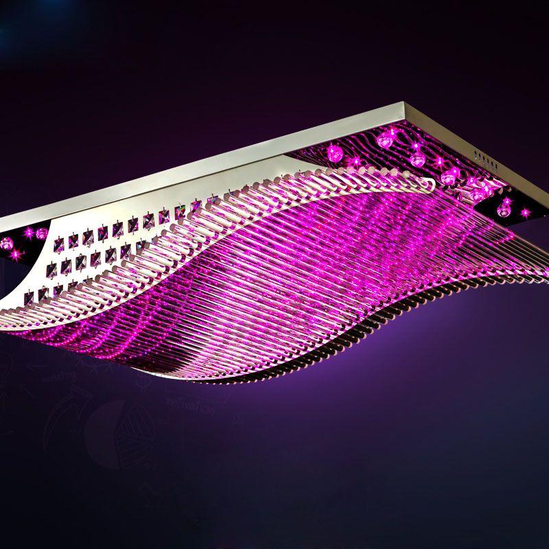 Modern Minimalist LED K9 Crystal Chadelier Rectangular Glass Ceiling Lamp Living room Hotel Chandelier Remote Control Light