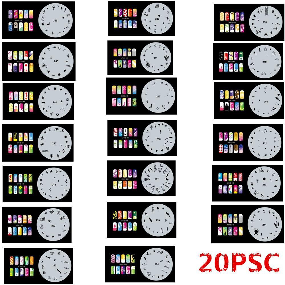 Новая Мода Набор Аэрографа Трафареты для ногтей 241-260 Инструменты Diy Аэрография 20 х Шаблон листа для Аэрографа Kit Nail Art Paint