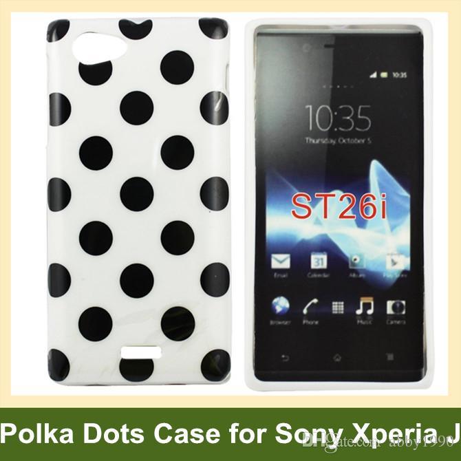 Sony Xperia J ST26i Ücretsiz Nakliye için Toptan Sıcak Puanl Yumuşak TPU Jel Kapak Kılıf