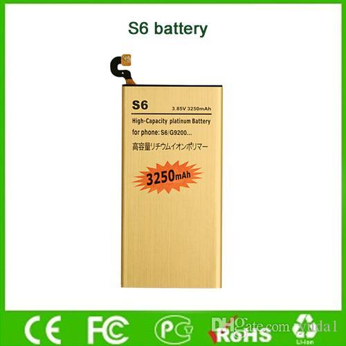 3250mAh Gold Batterie für Samsung S6 G9200 G920f G920i G920A G925S hohe Kapazität Handy-Akku Factory Direct Großhandel