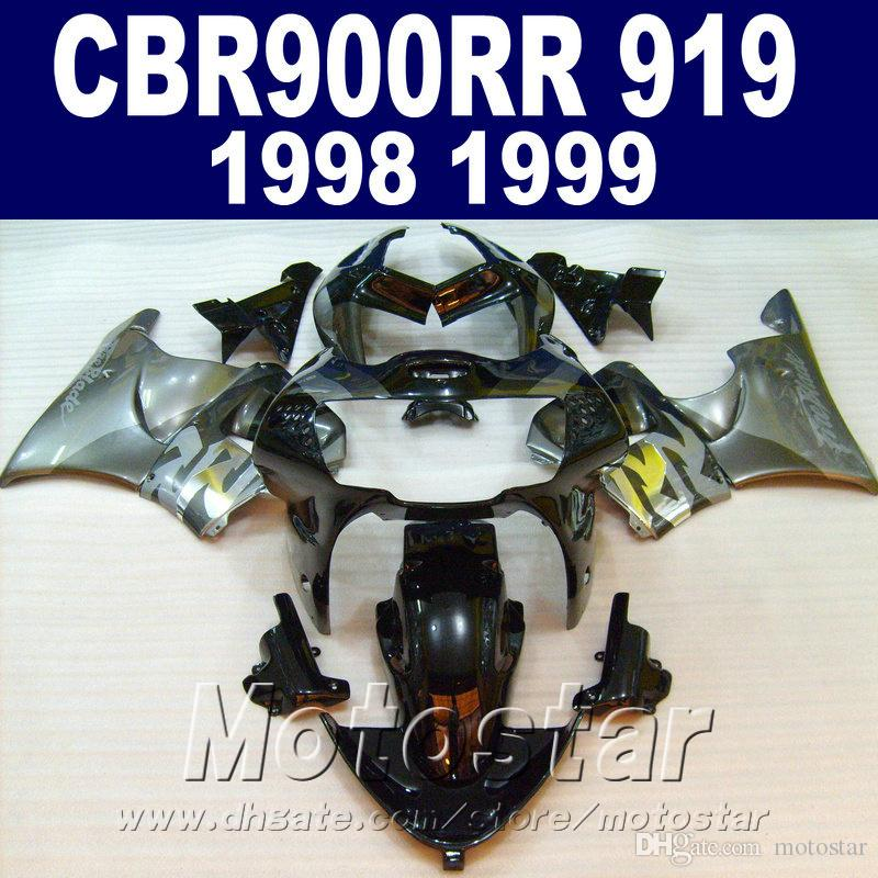 Free customize for Honda CBR900RR fairings set 1998 1999 silver black CBR919 98 99 abs fairing kit GI90