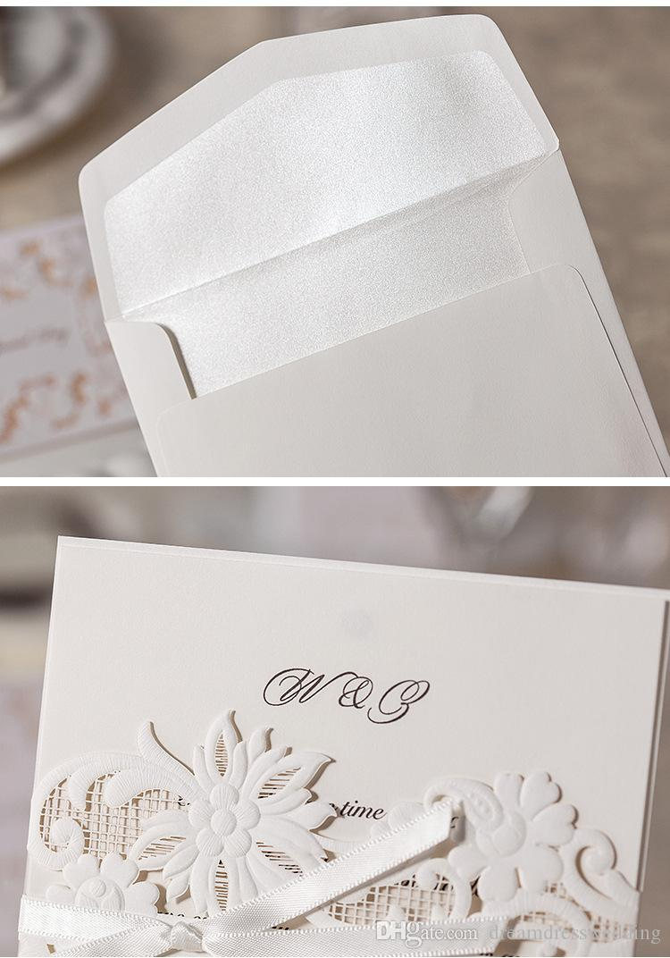 2016 Bow Newest Wedding Invitations Gold Paper Blank Inner Sheet ...