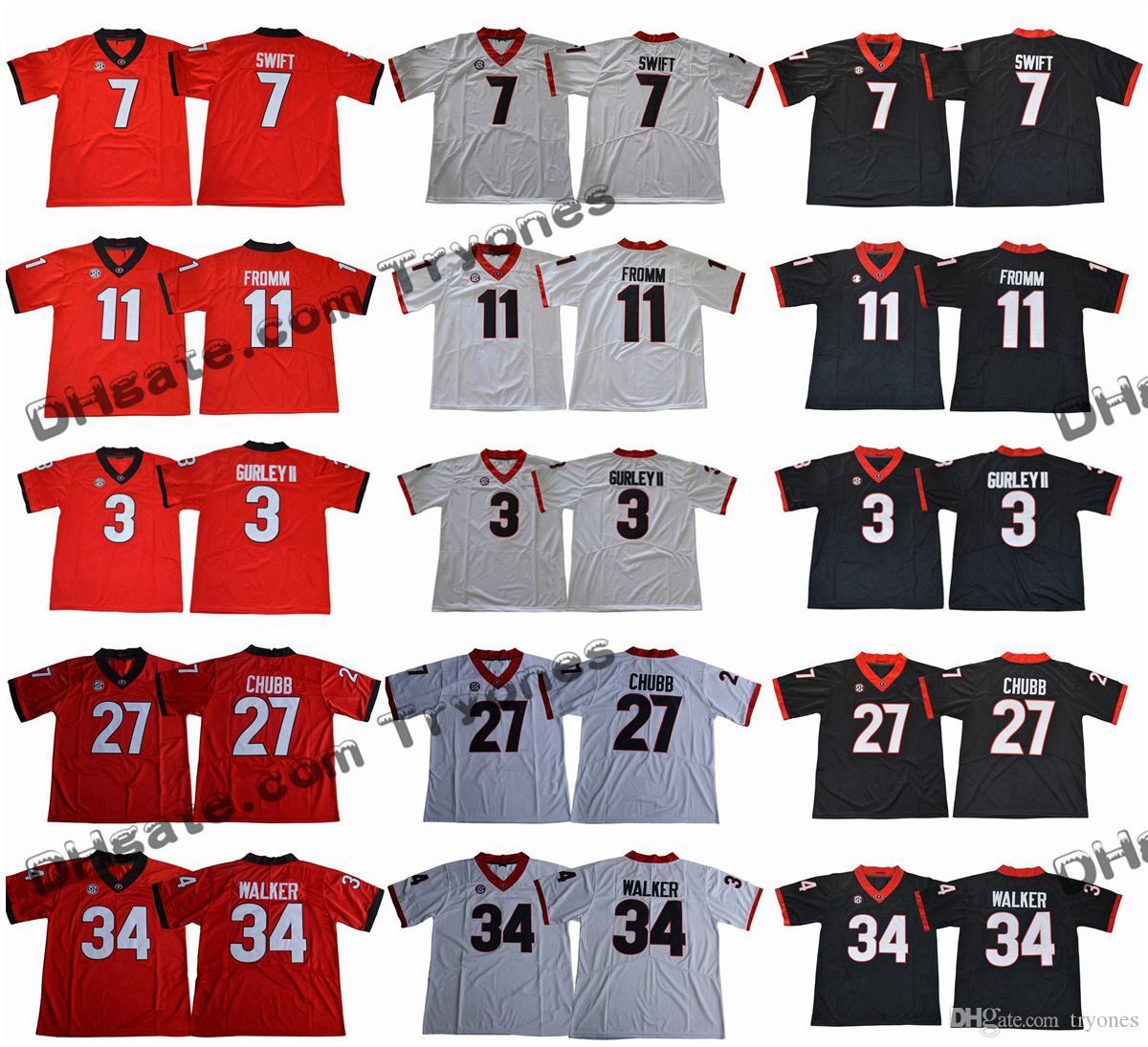 2017 Georgia Bulldogs College Football Jersey 11 Jake Fromm 7 D'Andre Swift 27 Nick Chubb 34 Herschel Walker 3 Todd Gurley II neuen Mens-Hemden