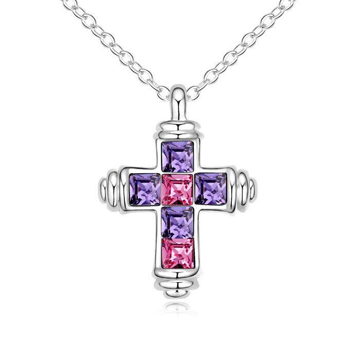 Piedras moda colgantes de cristal collar de la joyería cristiana Cruz collar mujeres 18K chapado en oro blanco hecho con Swarovski Elements 12848
