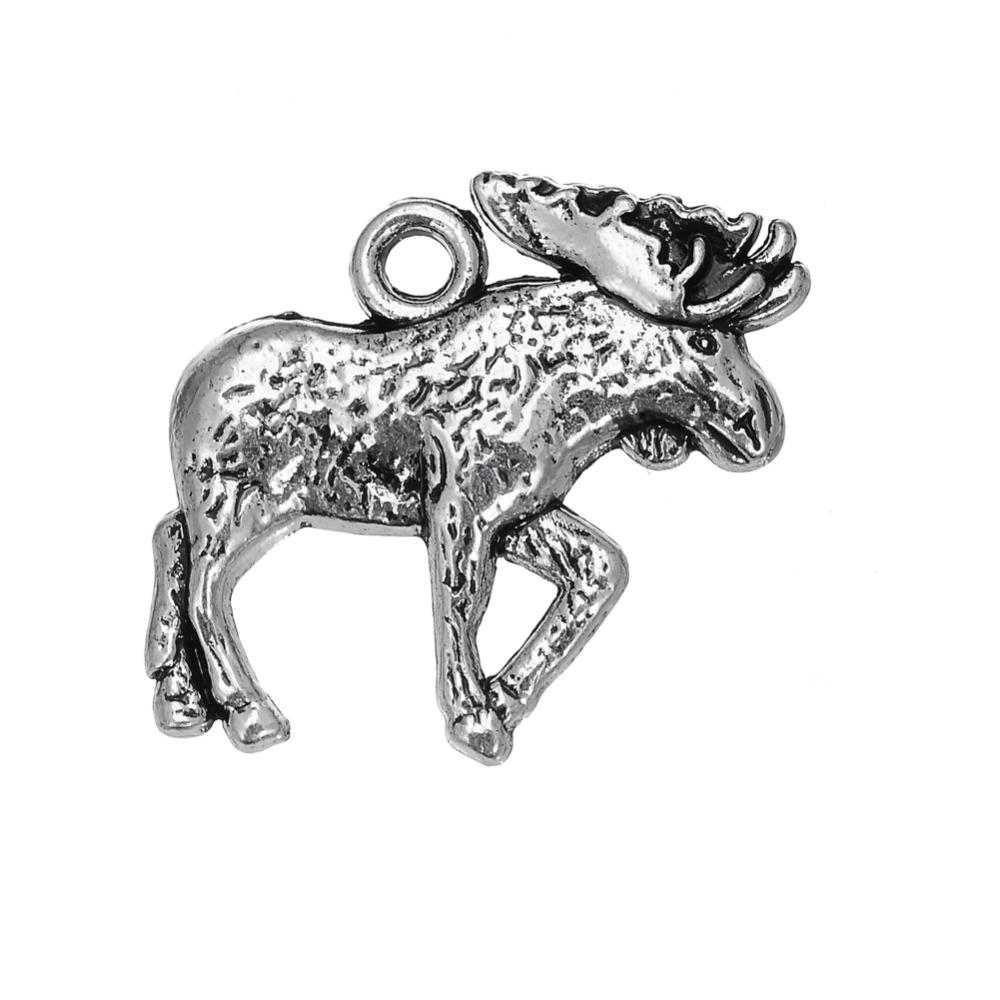 Free shipping New Fashion Easy to diy 30Pcs Single-side Vintage Moose Animal Charm Charm Jewelry jewelry making fit for necklace or bracelet