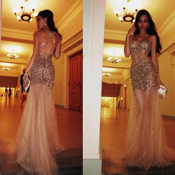 Luxury Bling Bling Sequins Beaded Prom Dresses 2019 Sheer Tulle Gold Spaghetti Strap Backless Sexy Mermaid Long Pageant Dresses Party Gowns