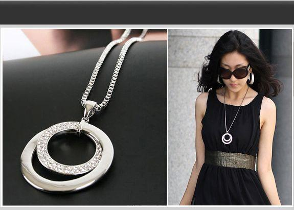 Wholesale 2015 hot long chain women fashion crystal rhinestone wholesale 2015 hot long chain women fashion crystal rhinestone necklace chunky silver plated double circle pendant necklace free ship silver heart pendant mozeypictures Images
