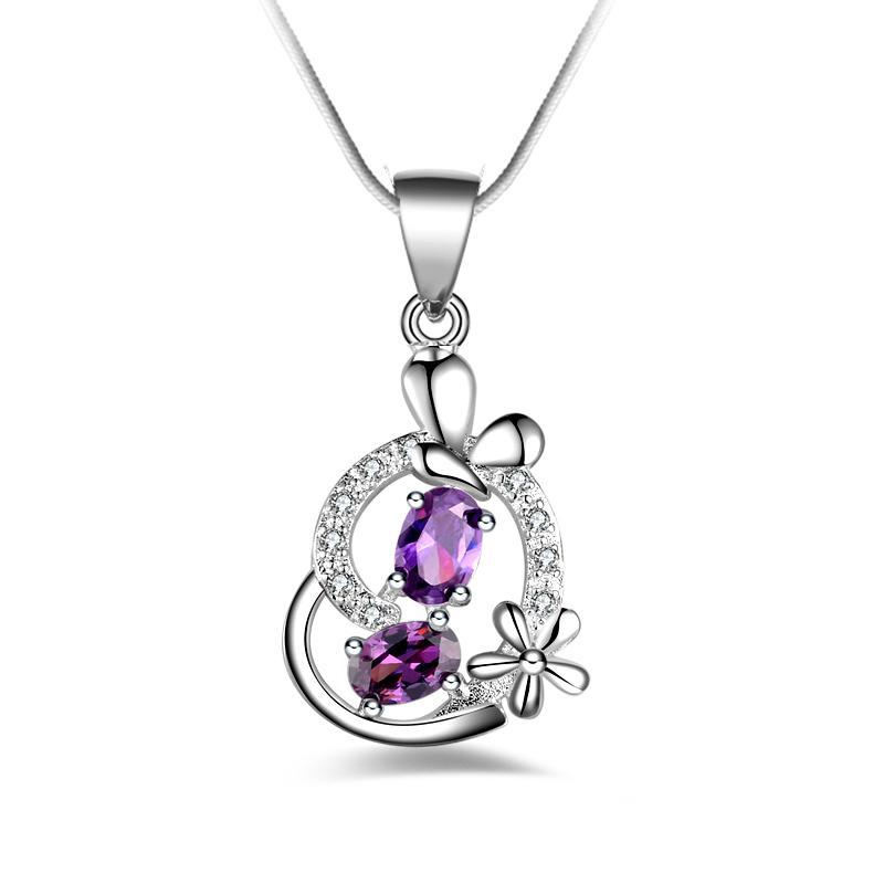 Frete grátis moda de alta qualidade 925 prata coração roxo diamante jóias 925 colar de prata presentes do feriado do dia dos namorados Hot 1680